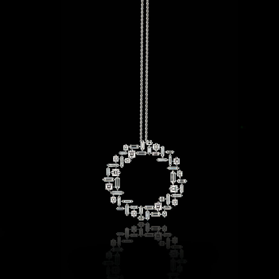 Cubism circular diamond necklace set in 18ct white gold by Stefano Canturi