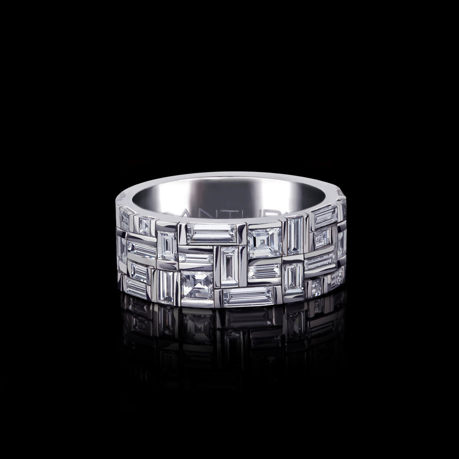 Cubism classic diamond ring set in 18ct white gold by Stefano Canturi
