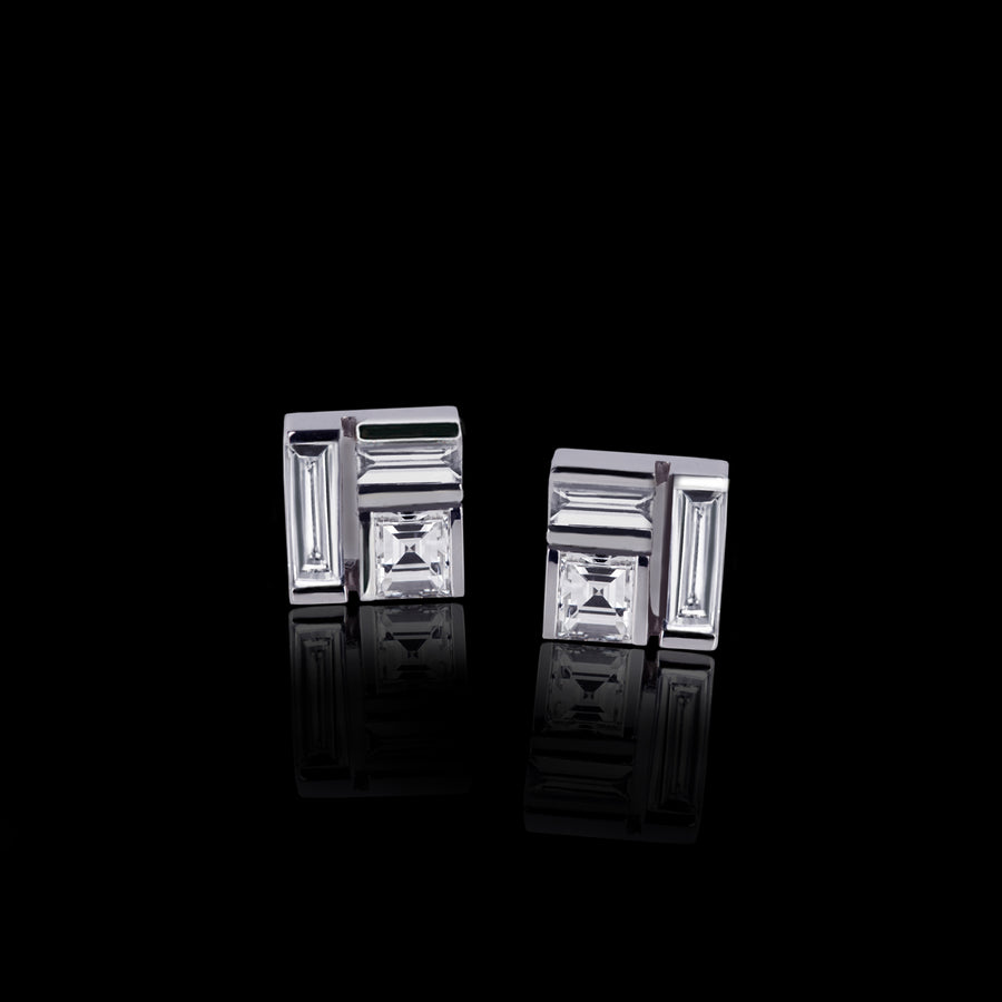 Cubism diamond stud earrings in 18ct white gold by Stefano Canturi