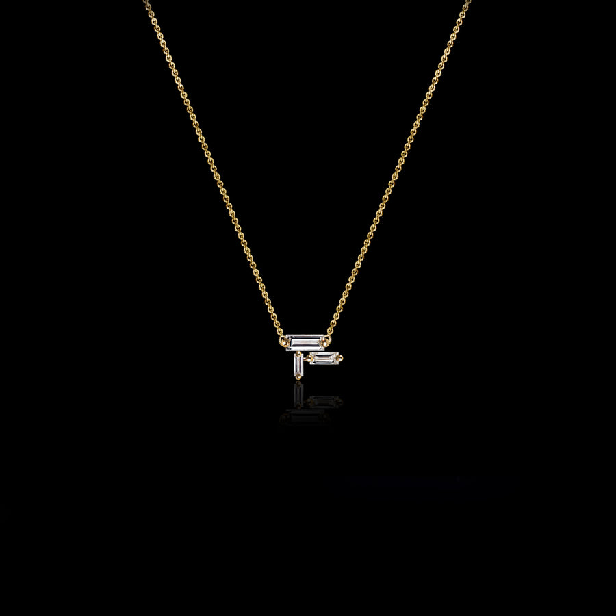Cubism diamond pendant necklace set in 18ct yellow gold by Stefano Canturi
