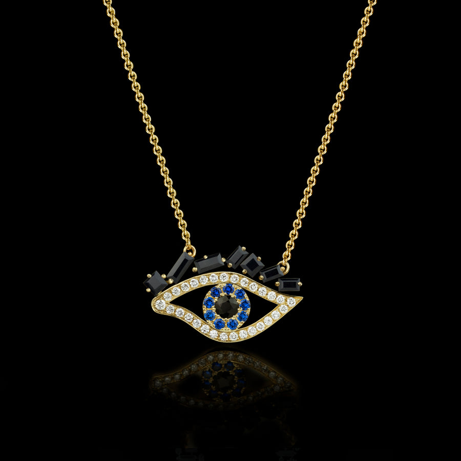 Cubism Eye pendant necklace set in 18ct yellow gold with Australian black sapphires, diamonds, spinel gemstones by Stefano Canturi.