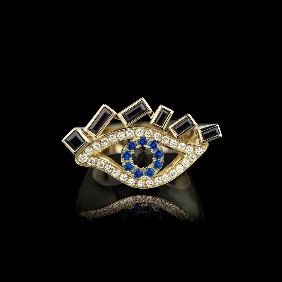 Cubism Eye ring set in 18ct yellow gold with Australian black sapphires, diamonds, spinel gemstones by Stefano Canturi.