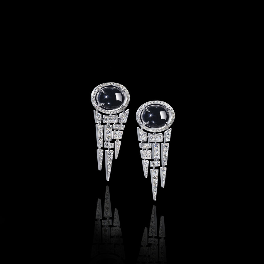 Cubism diamond and Australian black sapphire earrings in 18ct white gold by Stefano Canturi