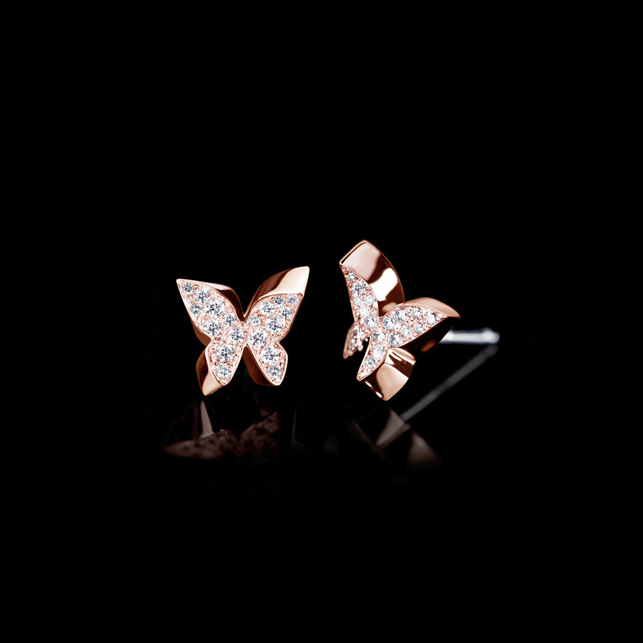 Odyssey diamond Butterfly earrings in 18ct pink gold by Stefano Canturi