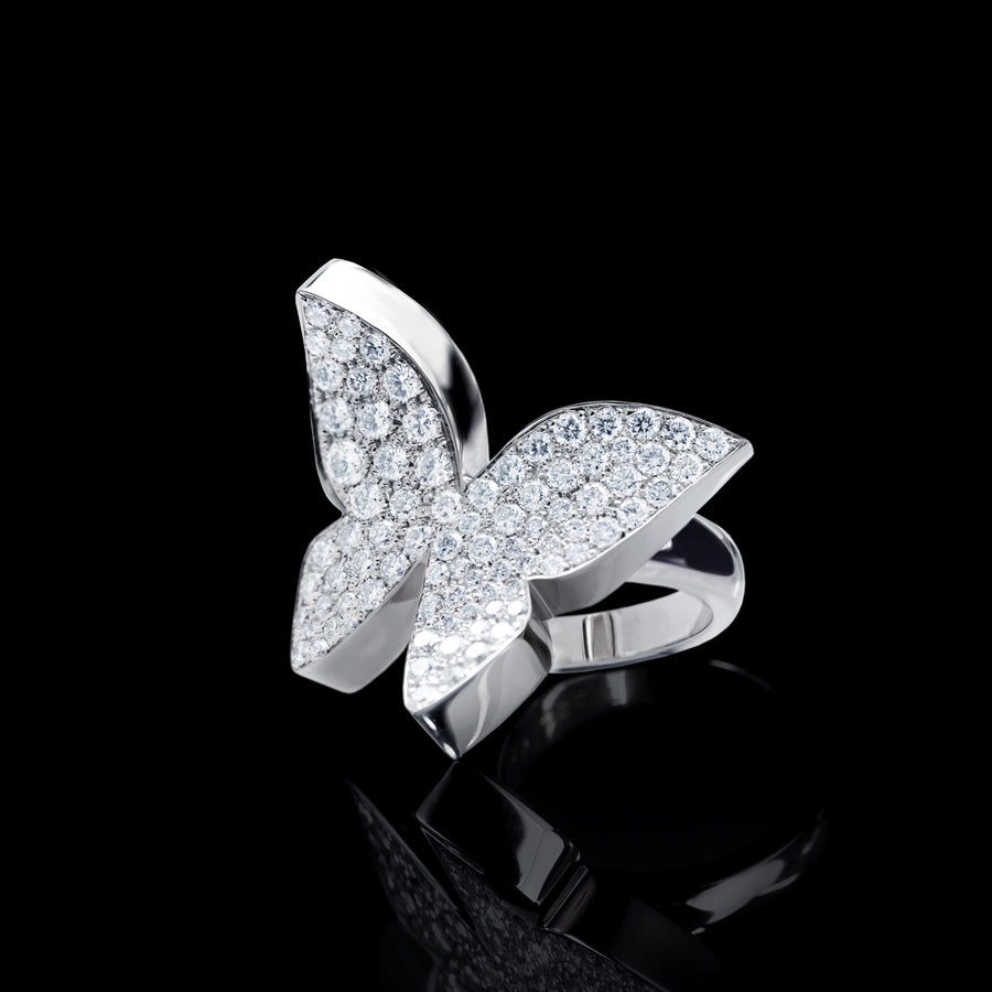 Odyssey diamond Butterfly ring in 18ct white gold by Stefano Canturi