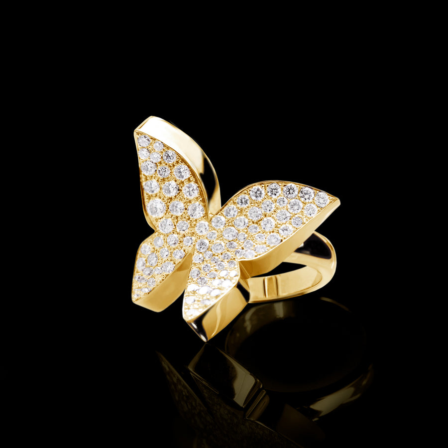 Odyssey diamond Butterfly ring in 18ct yellow gold by Stefano Canturi