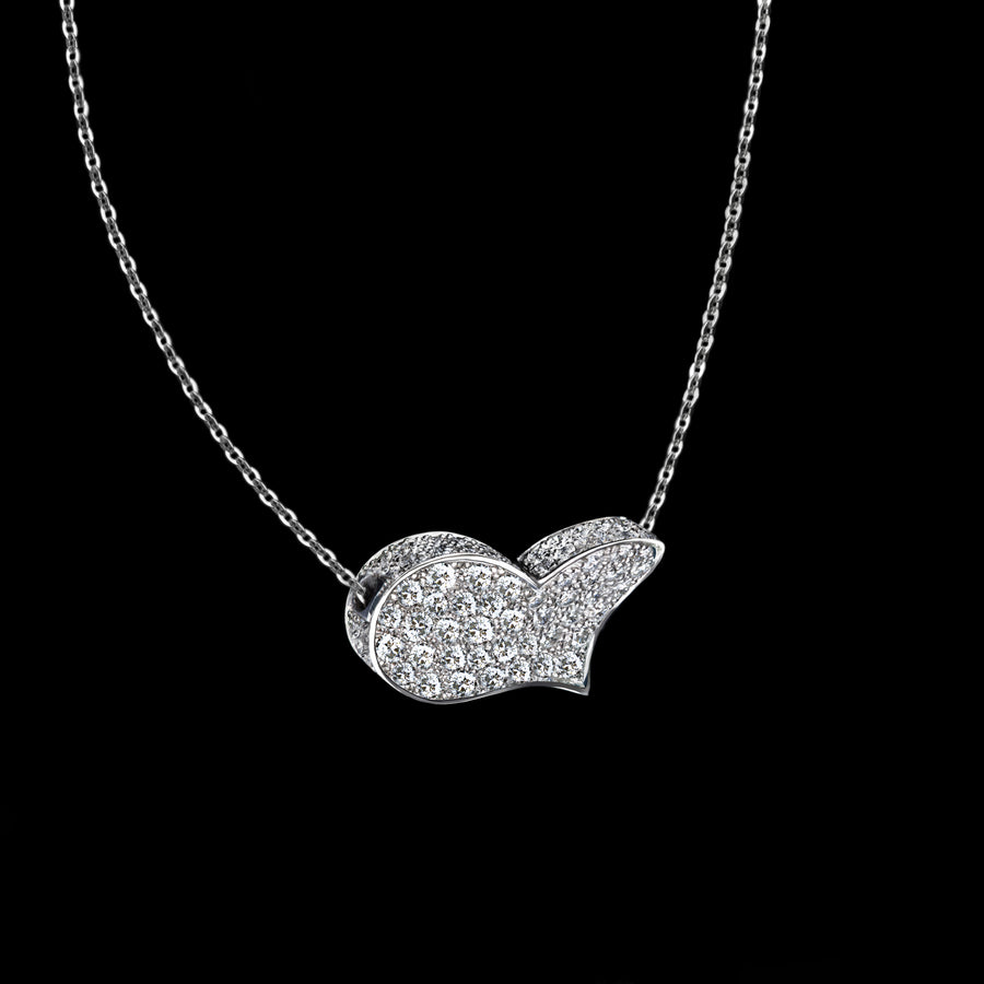 Odyssey diamond Heart pendant necklace set in 18ct white gold by Stefano Canturi