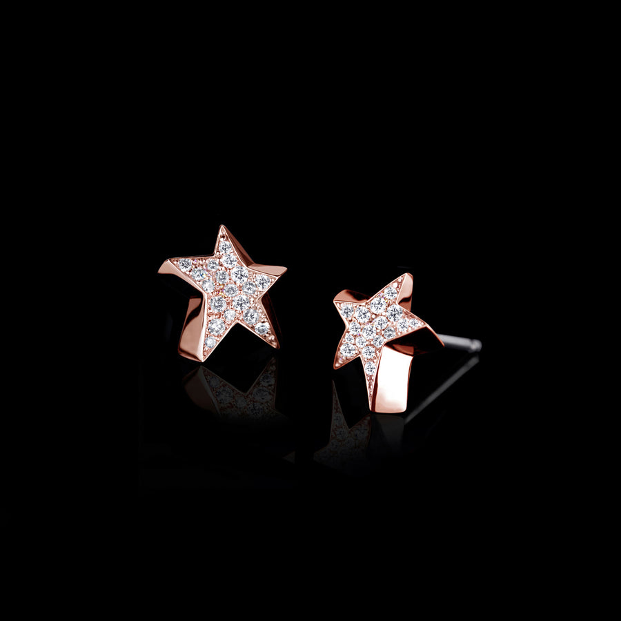 Odyssey diamond Star earrings in 18ct pink gold by Stefano Canturi