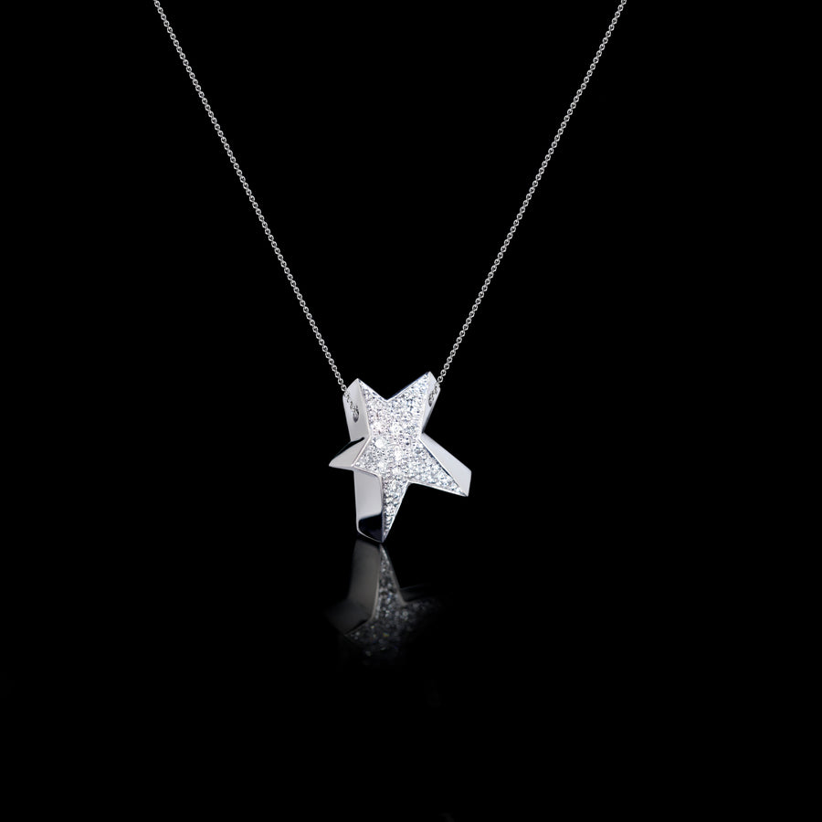 Odyssey diamond small Star pendant necklace set in 18ct white gold by Stefano Canturi