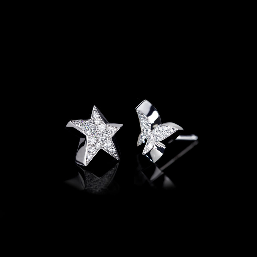 Odyssey diamond Star and Butterfly earrings in 18ct white gold by Stefano Canturi