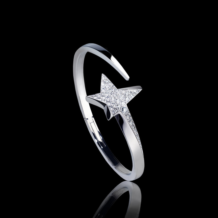 Odyssey diamond Star bangle set in 18ct white gold by Stefano Canturi