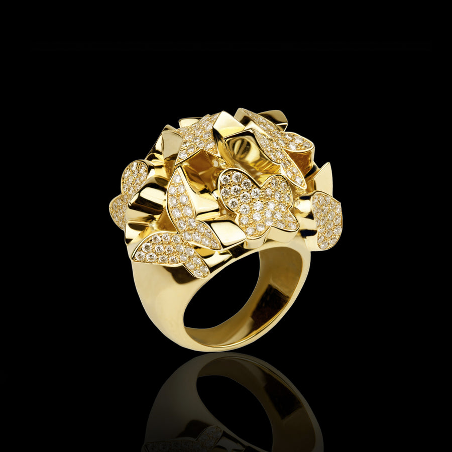 Odyssey multi-shape diamond ring in 18ct yellow gold by Stefano Canturi