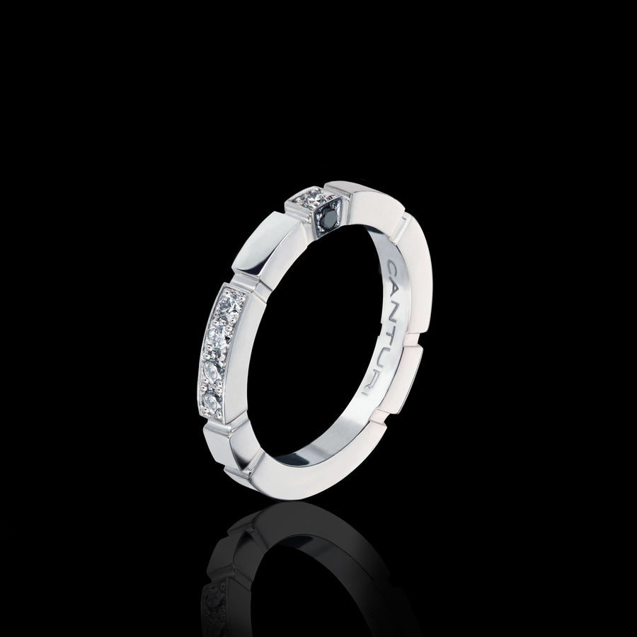 Regina Alternate Diamond Ring with Australian black sapphire cube in 18ct White Gold by Stefano Canturi