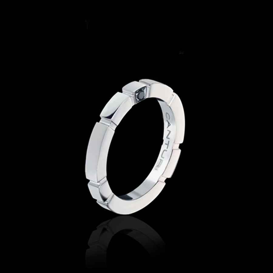 Regina Plain Band with Australian black sapphire cube in 18ct White Gold by Stefano Canturi