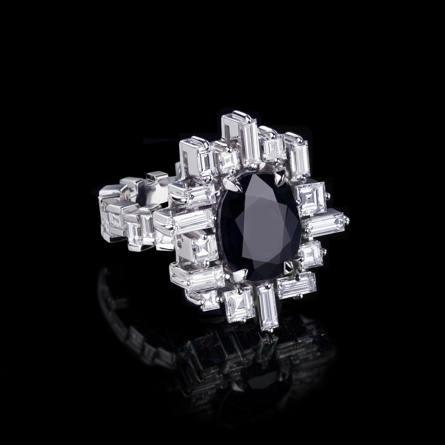 Stella diamond and Australian black sapphire ring set in 18ct white gold by Stefano Canturi