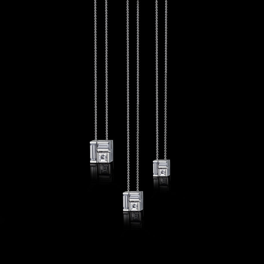 Cubism diamond pendant necklace set in 18ct white gold by Stefano Canturi