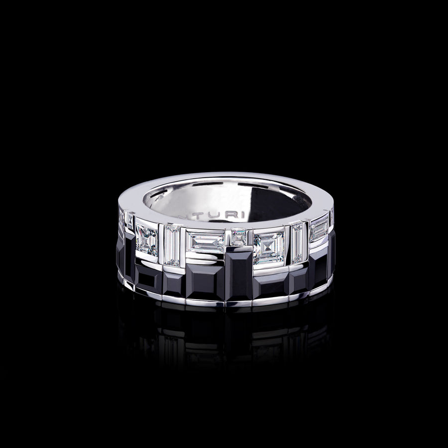Cubism Radiant Diamond and Australian Black Sapphire Ring set in 18ct White Gold by Stefano Canturi