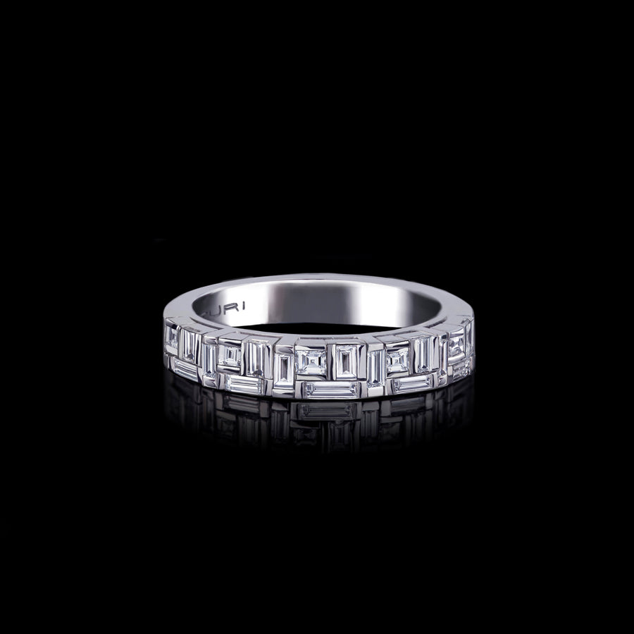 Cubism Fitted Narrow Diamond Ring set in 18ct White Gold by Stefano Canturi