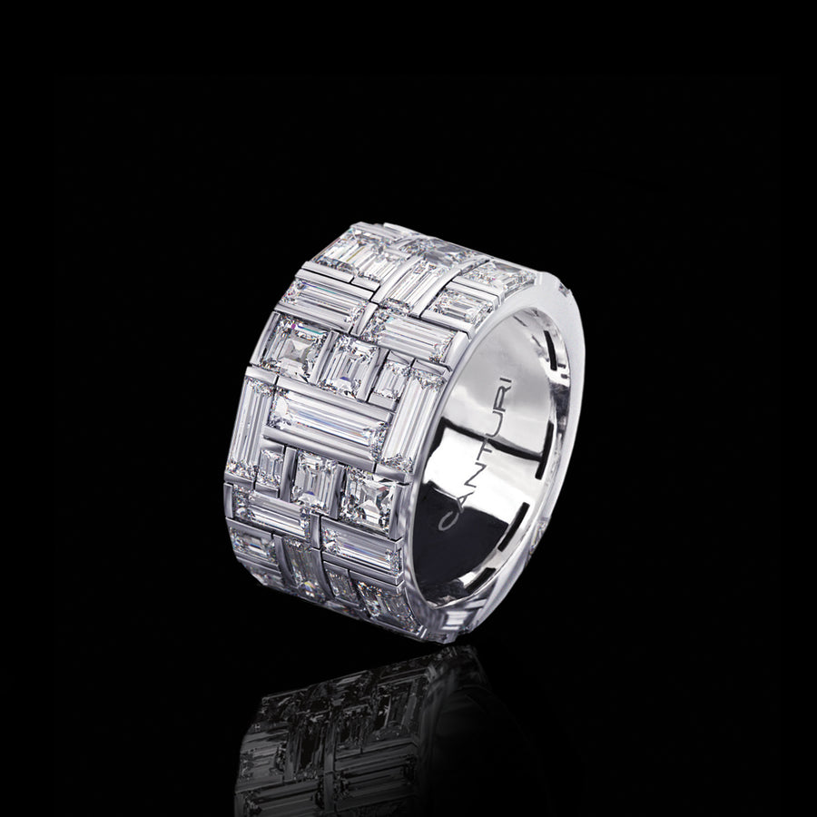 Cubism Extra Wide Diamond Ring set in 18ct White Gold by Stefano Canturi