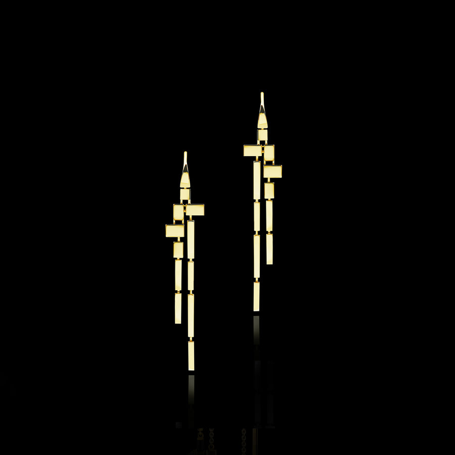 Cubism Plain 11 drop earrings in 18ct Yellow Gold by Stefano Canturi