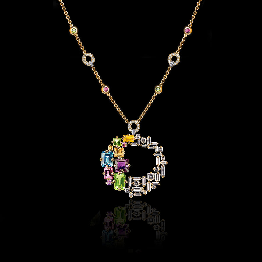 Cubism Colourburst Circular Gemstone Necklace in 18ct yellow gold by Stefano Canturi