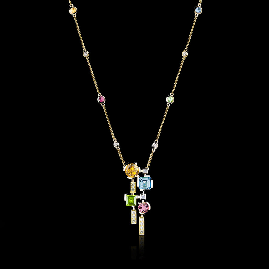Cubism Colourburst Drop Necklace in 18ct Yellow Gold by Stefano Canturi