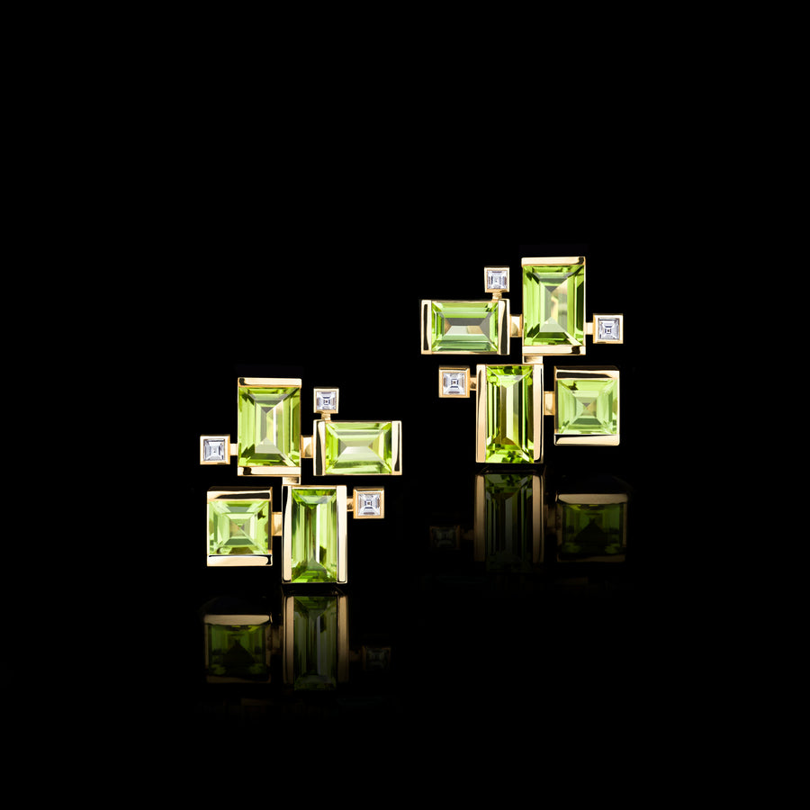Cubism Colourburst diamond and peridot earrings in 18ct yellow gold by Stefano Canturi