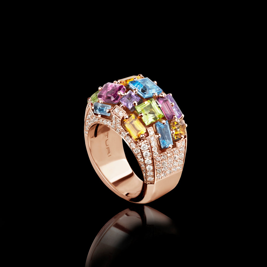 Cubism Colourburst Domed Diamond and Gemstone ring in 18ct pink gold by Stefano Canturi