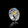 Cubism Colourburst Domed Diamond and Gemstone ring in 18ct white gold by Stefano Canturi