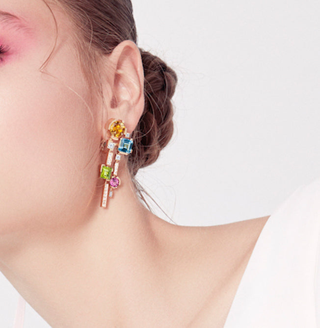 Cubism Colourburst drop earrings in 18ct yellow gold by Stefano Canturi