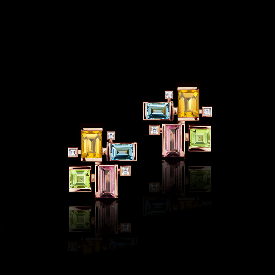 Cubism Colourburst gemstone earrings in 18ct pink gold by Stefano Canturi