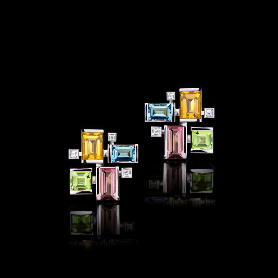 Cubism Colourburst gemstone earrings in 18ct white gold by Stefano Canturi