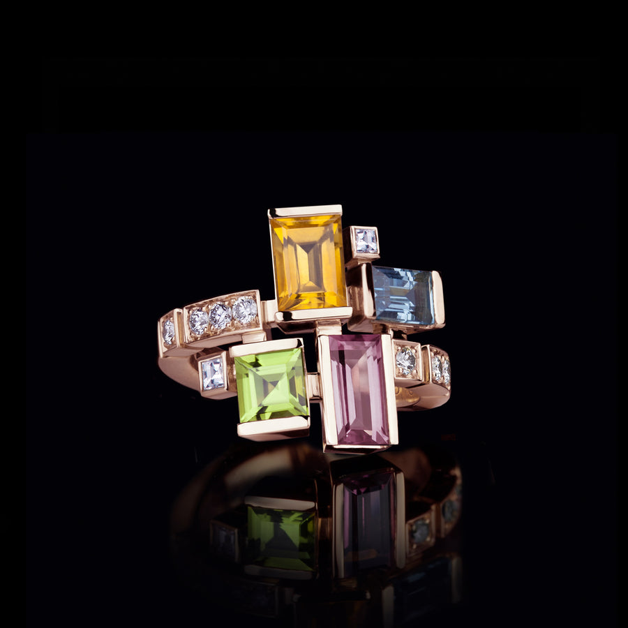 Cubism Colouburst gemstone ring in 18ct pink gold by Stefano Canturi