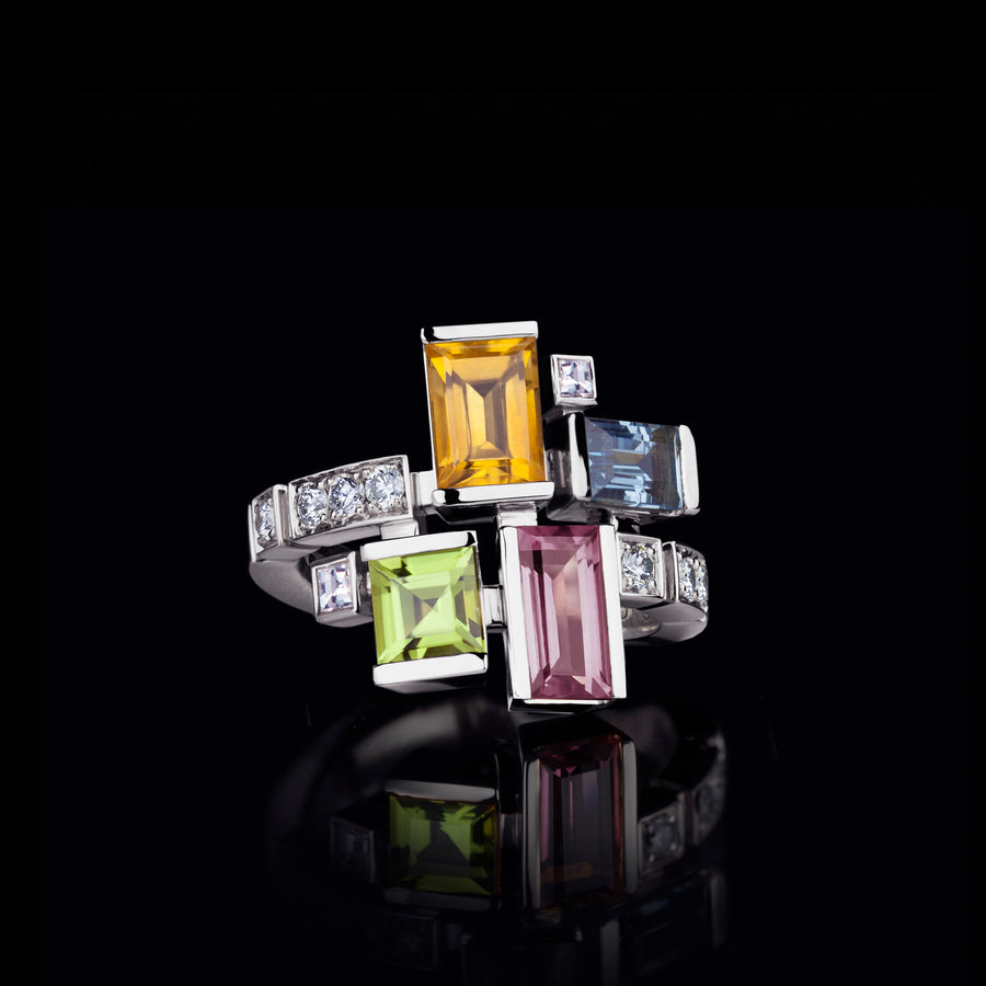 Cubism Colouburst gemstone ring in 18ct white gold by Stefano Canturi