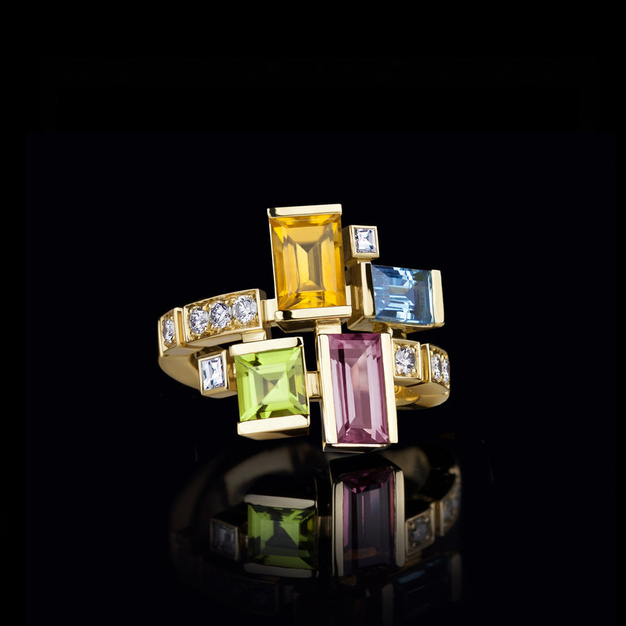 Cubism Colourburst gemstone ring in 18ct yellow gold by Stefano Canturi