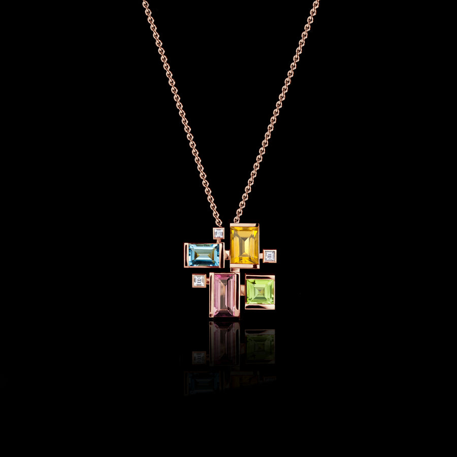 Cubism Colourburst Necklace in 18ct pink gold by Stefano Canturi