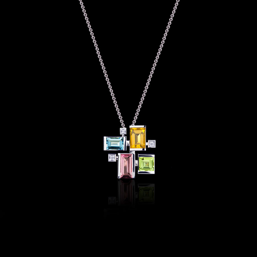Cubism Colourburst Necklace in 18ct white gold by Stefano Canturi