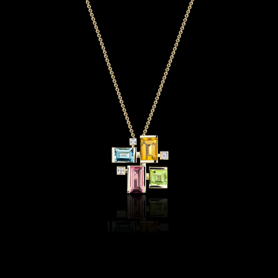 Cubism Colourburst Necklace in 18ct yellow gold by Stefano Canturi