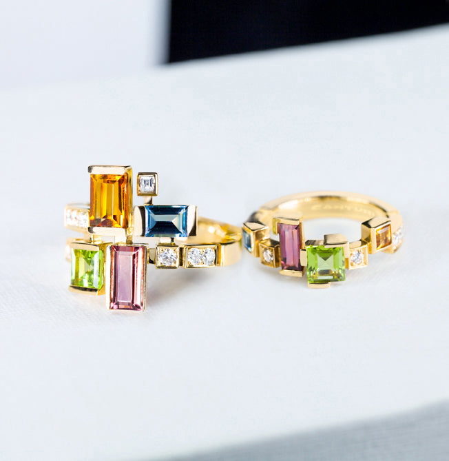 Cubism Colourburst gemstone rings in 18ct yellow gold by Stefano Canturi