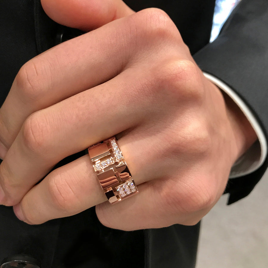 Cubism Pave diamond ring in 18ct pink gold by Stefano Canturi