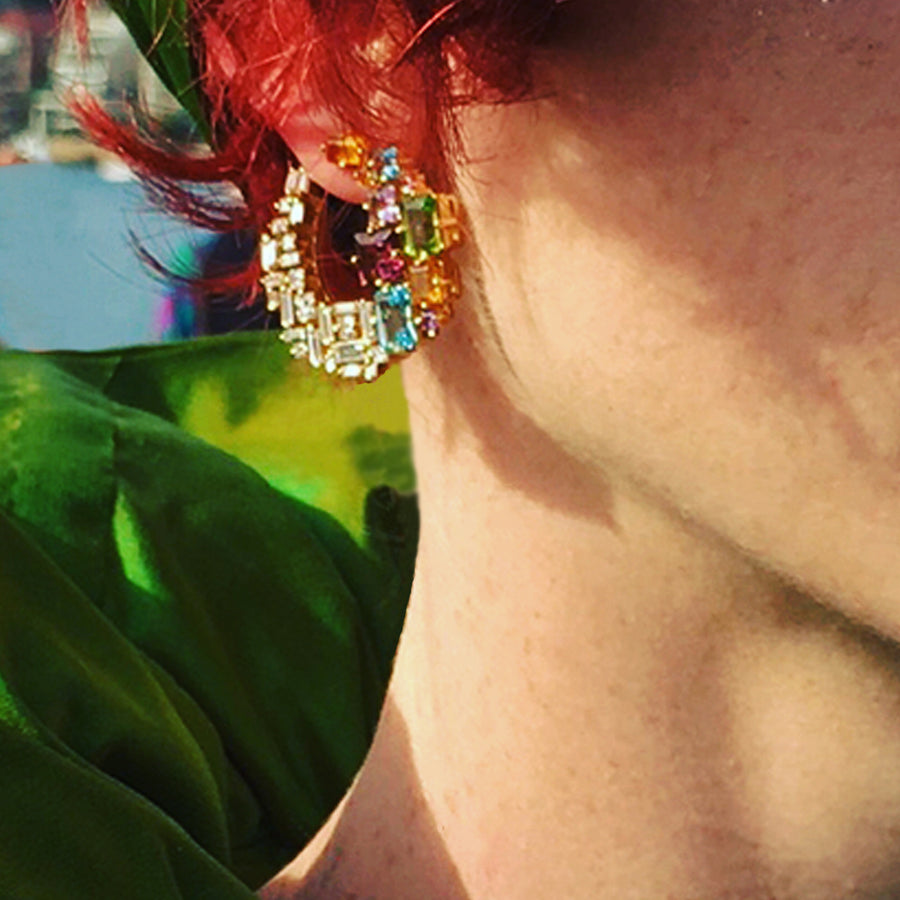Cubism Colourburst circular earrings by Stefano Canturi