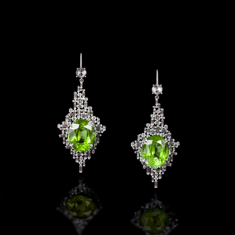 Cubism diamond and peridot earrings in 18ct white gold by Stefano Canturi
