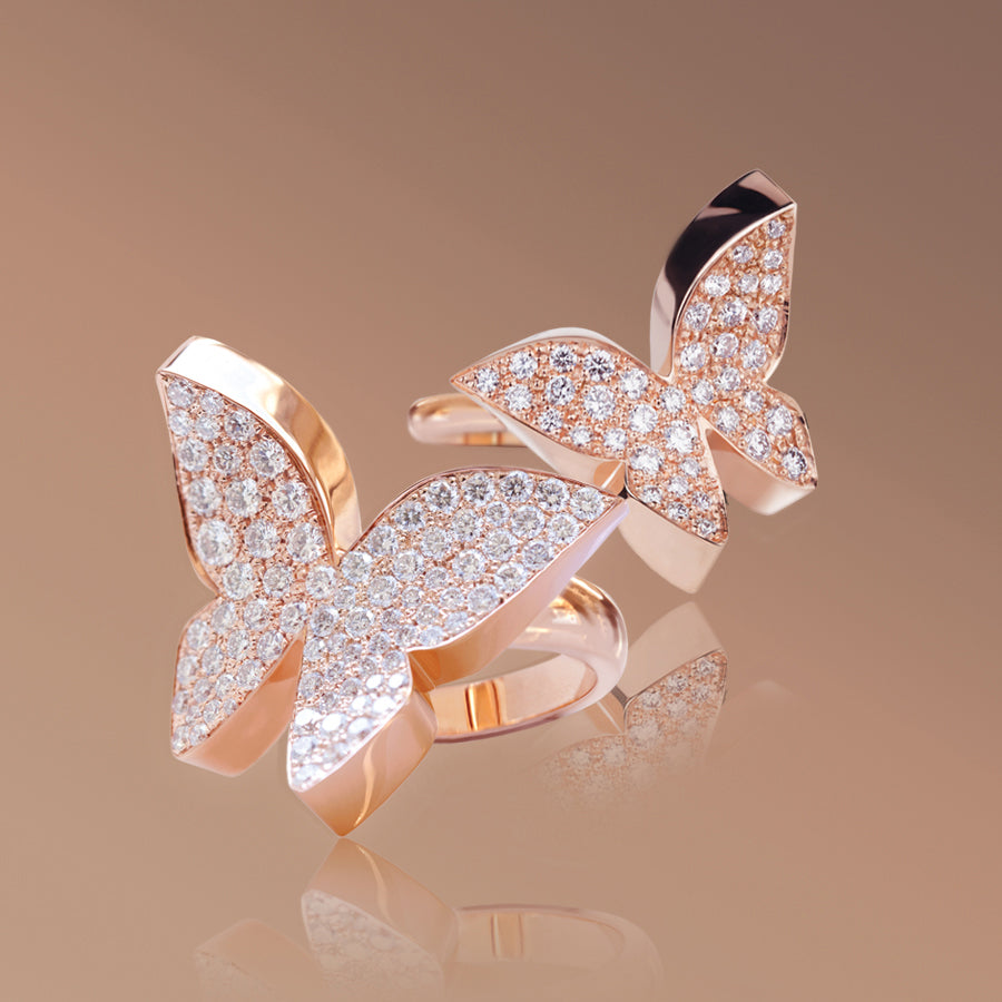 Odyssey diamond Butterfly rings in 18ct pink gold by Stefano Canturi