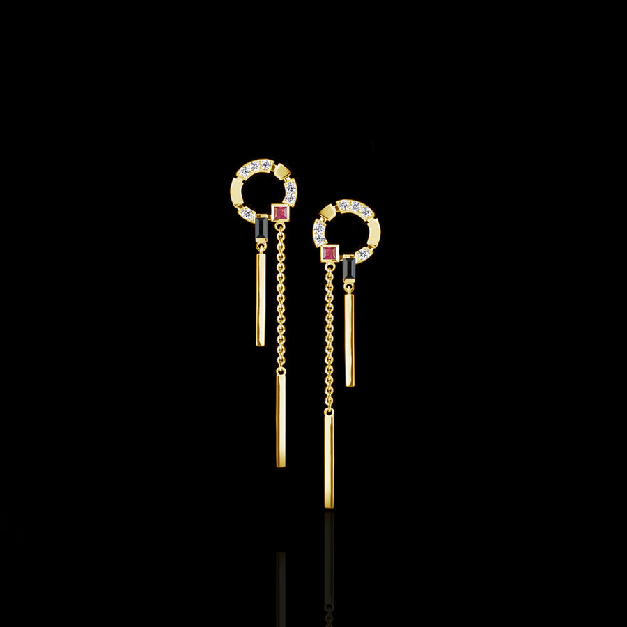 Regina Swing Earrings featuring diamonds, Australian black sapphires and rubies in 18ct Yellow Gold by Stefano Canturi