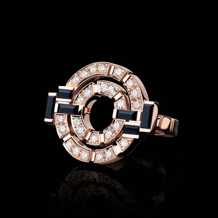 Regina double link diamond and Australian black sapphire ring by Stefano Canturi