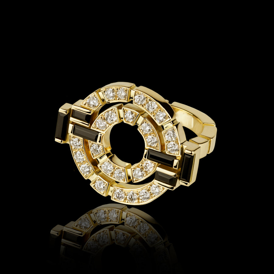 Regina double link diamond and Australian black sapphire ring in 18ct yellow gold by Stefano Canturi