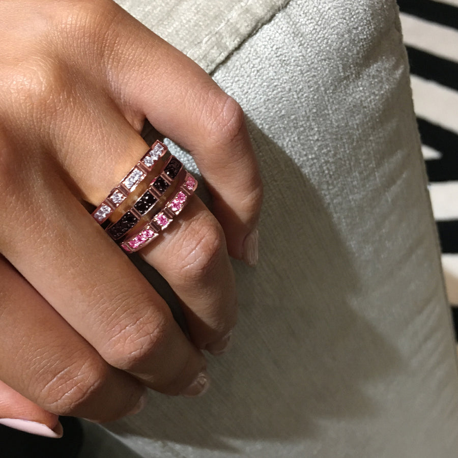 Regina Black Diamond Ruby Ring in 18ct Pink Gold by Stefano Canturi