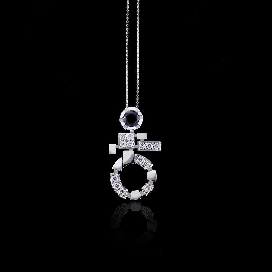 Regina Single Link diamond and Australian black sapphire necklace in 18ct white gold by Stefano Canturi