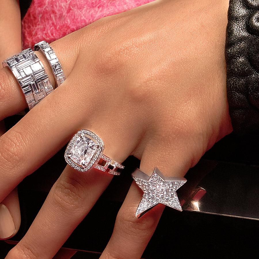 Canturi diamond rings in 18ct white gold by Stefano Canturi