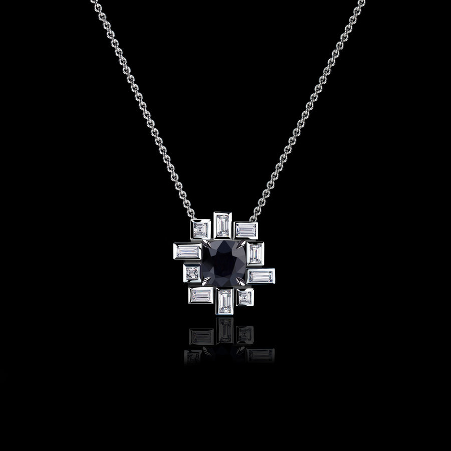 Stella diamond and Australian black sapphire necklace in 18ct white gold by Stefano Canturi